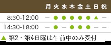 診療時間9:00-12:00、14:30-18:00 休診日:月・木曜午後・日祝
